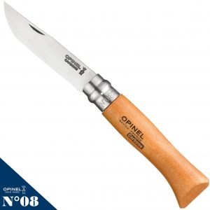 Opinel Carbon Steel Folding Pocket Knife with Beechwood Handle